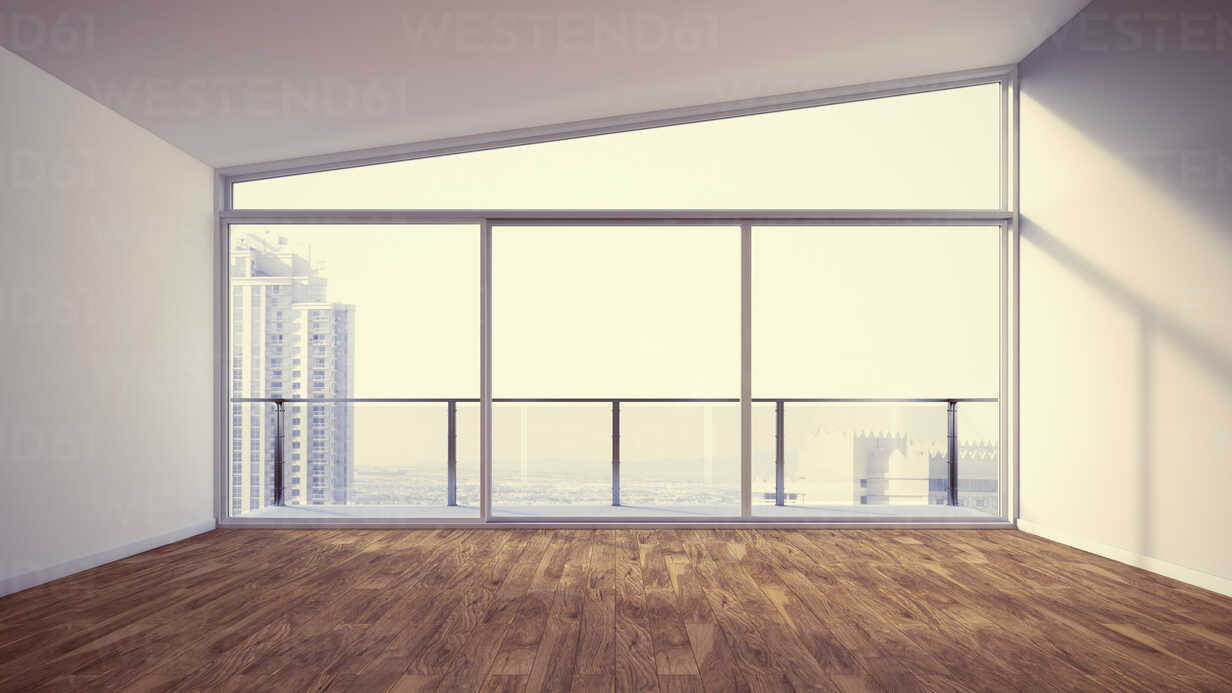 Empty apartment with wooden floor, 3d rendering - UWF000397 - HuberStarke/Westend61