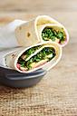 Beet hummus wraps with mango and kale - HAWF000730