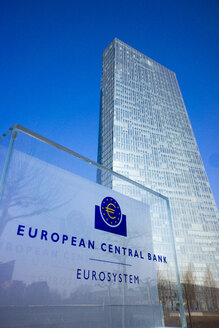 Germany, Frankfurt, view to European Central Bank with nameplate in the foreground - JWA000253