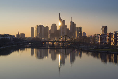 Germany, Frankfurt, skyline with water reflection at Main River in the foreground - JWAF000257