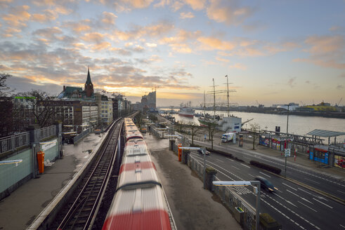 Germany, Hamburg, sunrise on the harbor edge - RJF000409