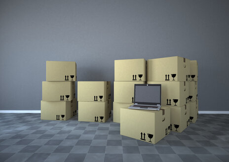 Shipping cartons with notebook in a room, 3d rendering - ALF000429