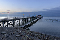 Germany, Baden-Wuerttemberg, Hagnau, Lake Constance, jetty in the morning - KEBF000057