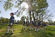 Germany, Bavaria, Gaissach, Michaeli Procession, brass band - SIE006521