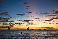 Philippines, Boracay, sunset with sailing boats - GEMF000124