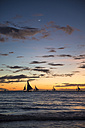 Philippines, Boracay, sunset with sailing boats - GEMF000126