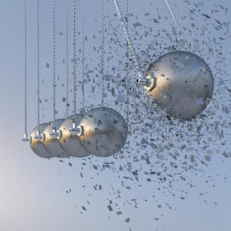 Exploding ball in Newton's cradle, 3d rendering - UWF000411