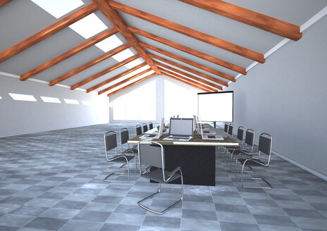 Meeting room with notebooks and flipchart, 3D Rendering - ALF000432