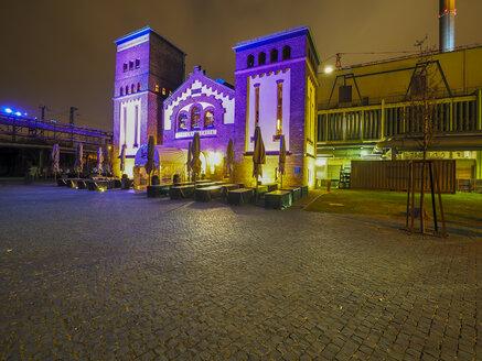 Germany, Hesse, Frankfurt, former waterworks, Restaurant in the evening - AM003922