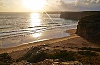 Portugal, Algarve, Sagres, Beliche Beach at sunset - MRF001584