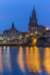 Germany, Dresden, view to Georgentor and court church in the morning - PVCF000372