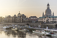 Germany, Dresden, view to city with Elbe River in the foreground in the morning - PVCF000343