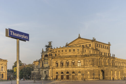 Germany, Dresden, view to Semper Opera House at Theatre Square - PVCF000364