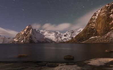 Norway, Lofoten, view to Olstind Mountain by night - MKFF000180