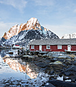 Norway, Lofoten, Reine, view to harbour at sunrise - MKFF000186