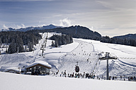 Germany, Reit im Winkl, snow-covered Winklmoosalm with chair lift - SIEF006549