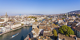 Switzerland, Zurich, Cityview, Limmat River and St. Peter Church left, Panorama - WDF003025