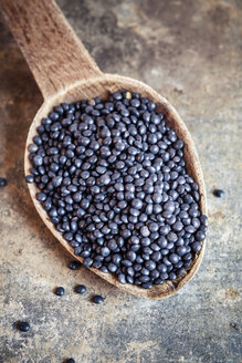 Wooden spoon of beluga lentils - SBDF001709