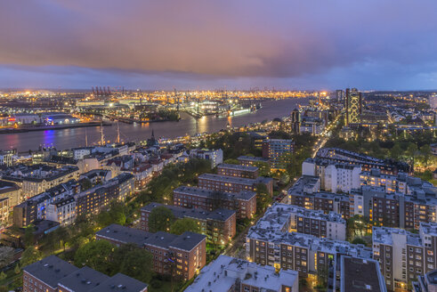 Germany, Hamburg, view to lighted city and harbour from  Michel at evening twilight - KEB000101
