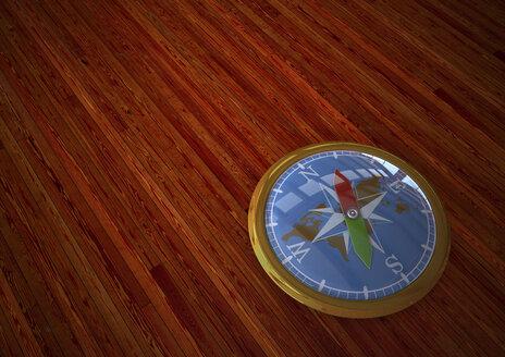 3D rendering, Golden compass on wooden background - ALF000445