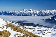 Austria, Vorarlberg, Little Walser Valley, View to Gottesacker plateau, Allgaeu Alps in the background - WGF000627