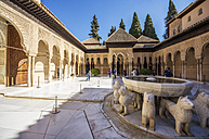 Spain, Andalusia, Granada, Alhambra, Patio de los Leones - THA001350