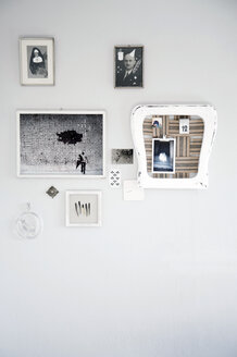 Upcycled chair used as pinboard and old photographies - GIS000094