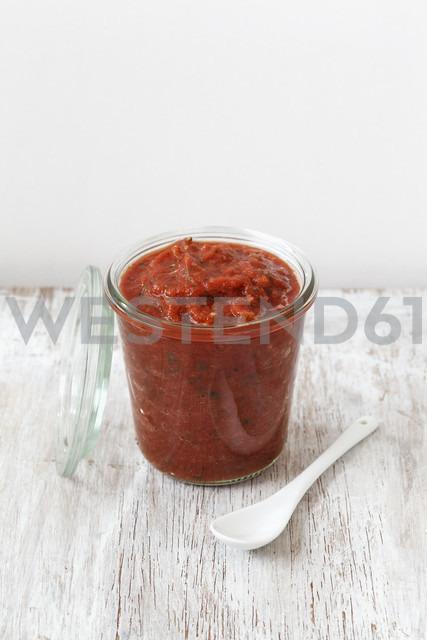 Glass of home-made pizza sauce - EVGF001445