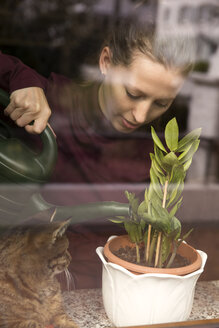 Woman with cat watering plant at the window - MIDF000248