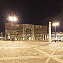 Germany, Dortmund, Town hall, square Friedensplatz at night - WI001657