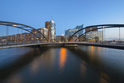 Germany, Hamburg, Kehrwiederspitze and Niederbaum bridge - RJF000419