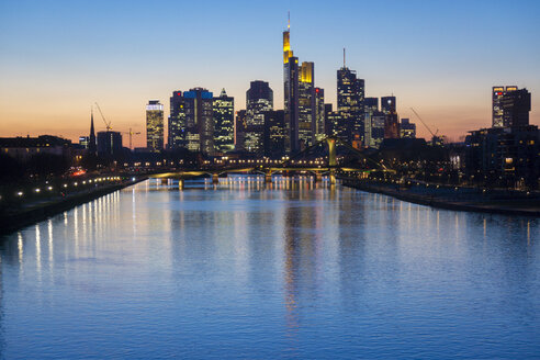 Germany, Frankfurt, River Main with Ignatz Bubis Bridge, skyline of finanial district in background - JWAF000269