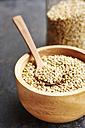 Hemp seeds in a wooden bowl - HAWF000762