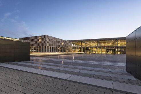 Germany, Brandenburg, view to lighted terminal of Berlin Brandenburg Airport - ASC000078