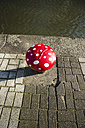 Netherlands, Rotterdam, bollard formed like a fly agaric on a quay - MYF000983