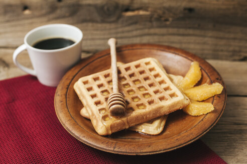 Breakfast with cup of coffee, waffles, honey and orange slices - BZF000116
