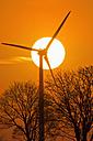 Germany, Bavaria, evening sun and wind wheel - UMF000765
