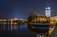 Czech Republic, Prague, sip on river Vltava at night - HAM000036