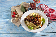 Plate of Spaghetti Bolgnese and ingredients - CSF025275