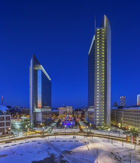 Germany, Frankfurt, Platz der Einheit at blue hour - TIF000066