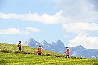 Austria, Flachau, three children at hay harvest - HHF005290