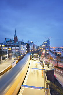 Germany, Hamburg, subway station Landungsbruecken at blue hour - BRF001156