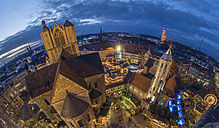Germany, Braunschweig, Brunswick Cathedral and Christmas market at blue hour - PVC000386