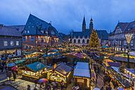 Germany, Lower Saxony, Goslar, Christmas market in the evening - PVCF000410