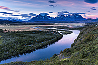 Chile, Torres del Paine National Park, Rio Paine at sunset - STSF000747