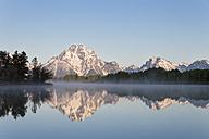 USA, Wyoming, Grand Teton National Park, Teton Range, Mount Moran, Oxbow Bend, Snake River in the morning - FOF008083