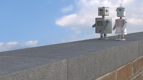 Male and female robot on wall ledge, 3D rendering - UWF000423