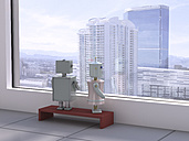 Male and female robot at the window looking at skyline, 3D rendering - UWF000434