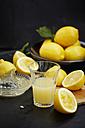 Sliced lemons in chopping board and freshly squeezed lemomn juice - KSWF001444