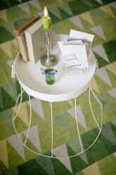 Upcycled old lampshade used as side table - GISF000106